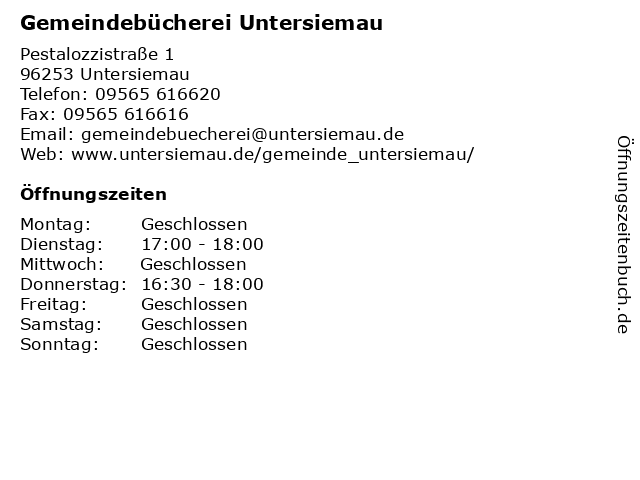 Gemeindebücherei Untersiemau in Untersiemau: Adresse und Öffnungszeiten