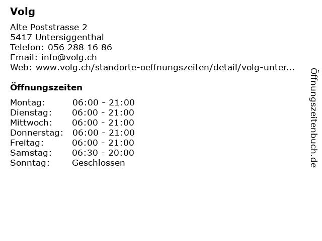 Volg in Untersiggenthal: Adresse und Öffnungszeiten