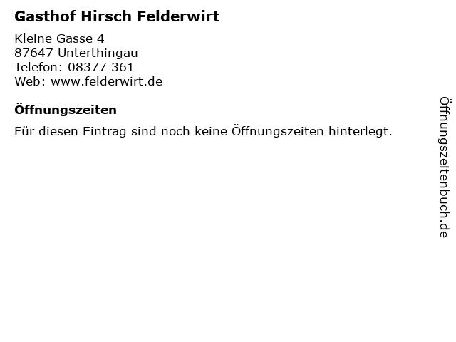 Gasthof Hirsch Felderwirt in Unterthingau: Adresse und Öffnungszeiten