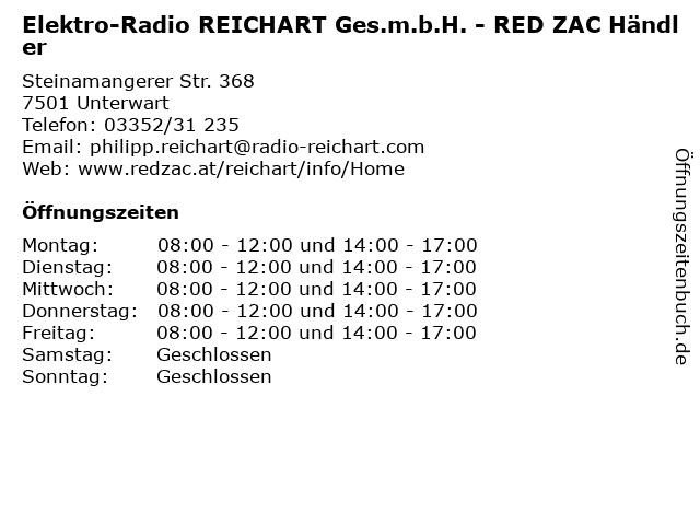 Elektro-Radio REICHART Ges.m.b.H. - RED ZAC Händler in Unterwart: Adresse und Öffnungszeiten