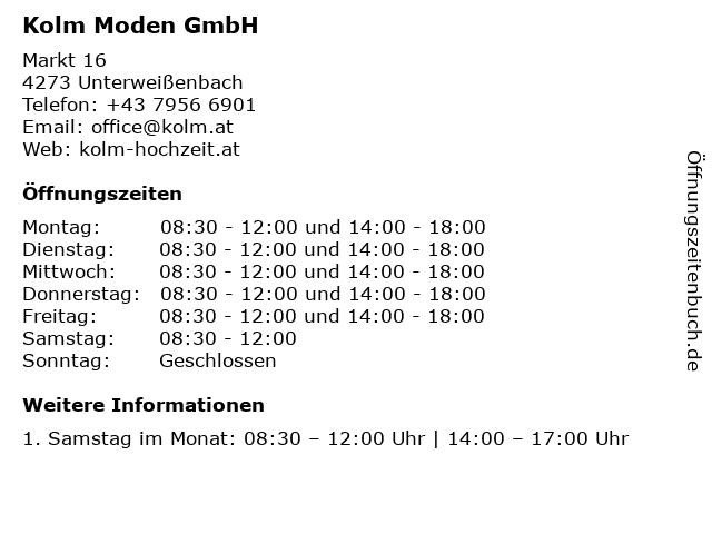 Kolm Moden GmbH in Unterweißenbach: Adresse und Öffnungszeiten