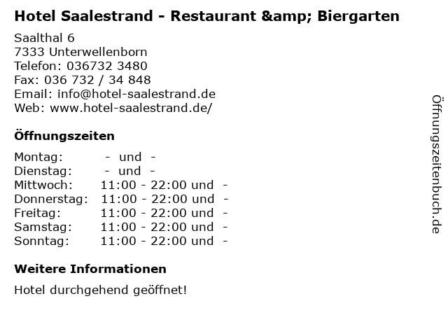 ᐅ Offnungszeiten Hotel Saalestrand Restaurant Biergarten