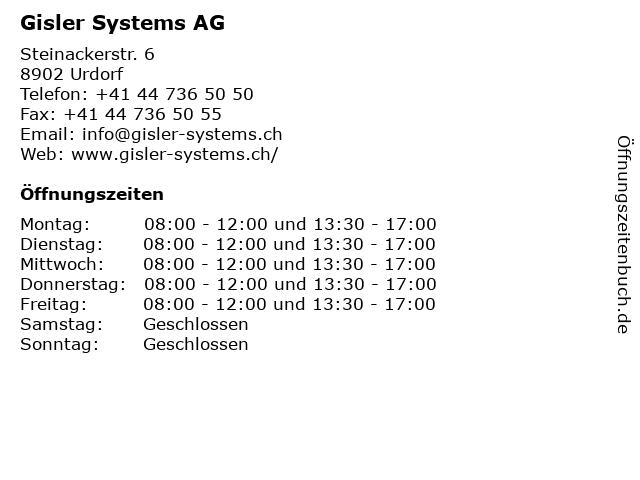 Gisler Systems AG in Urdorf: Adresse und Öffnungszeiten