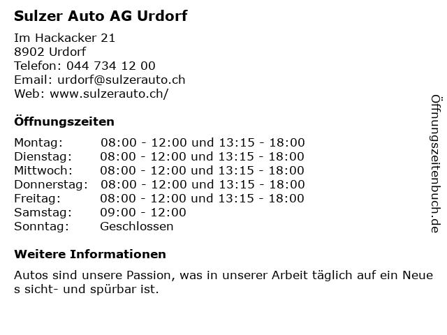 Sulzer Auto AG Urdorf in Urdorf: Adresse und Öffnungszeiten