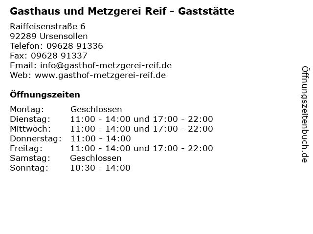 Gasthaus und Metzgerei Reif - Gaststätte in Ursensollen: Adresse und Öffnungszeiten