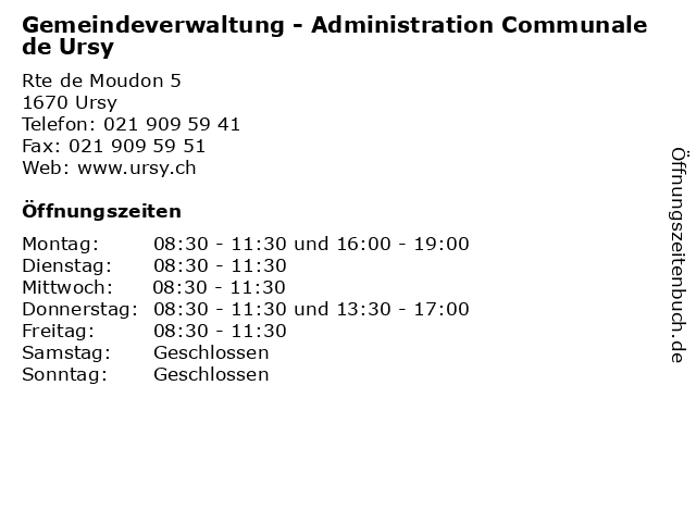 Gemeindeverwaltung - Administration Communale de Ursy in Ursy: Adresse und Öffnungszeiten