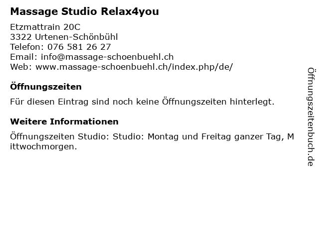 Massage Studio Relax4you in Urtenen-Schönbühl: Adresse und Öffnungszeiten