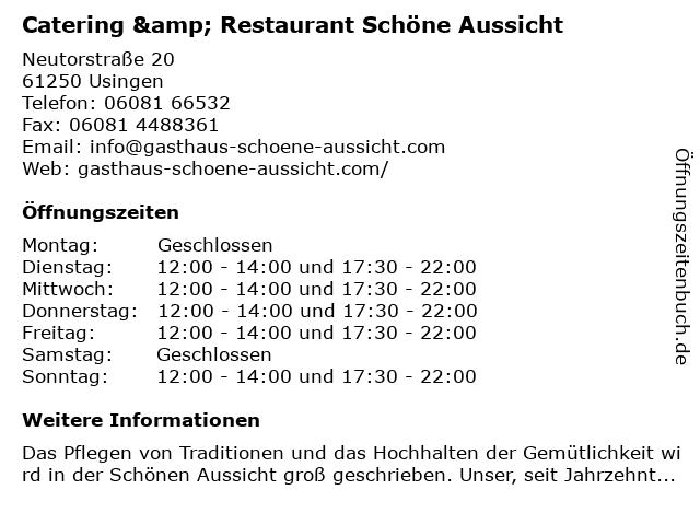 ᐅ Offnungszeiten Zur Schonen Aussicht Neutorstr 20 In Usingen