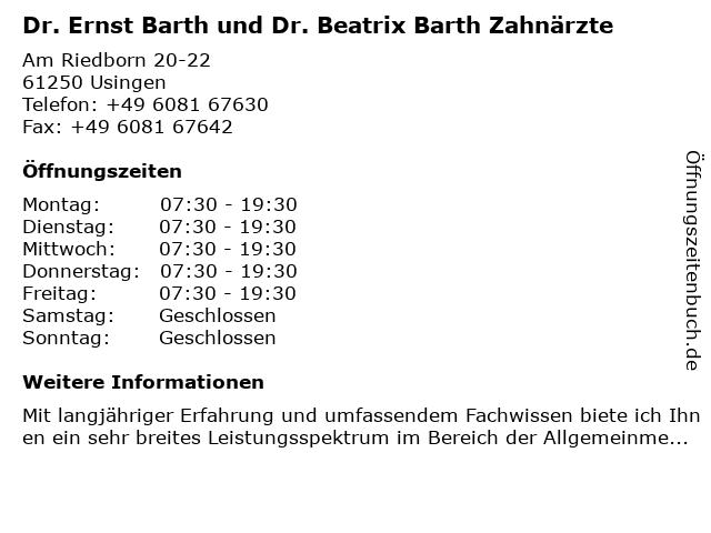 Dr. Ernst Barth und Dr. Beatrix Barth Zahnärzte in Usingen: Adresse und Öffnungszeiten