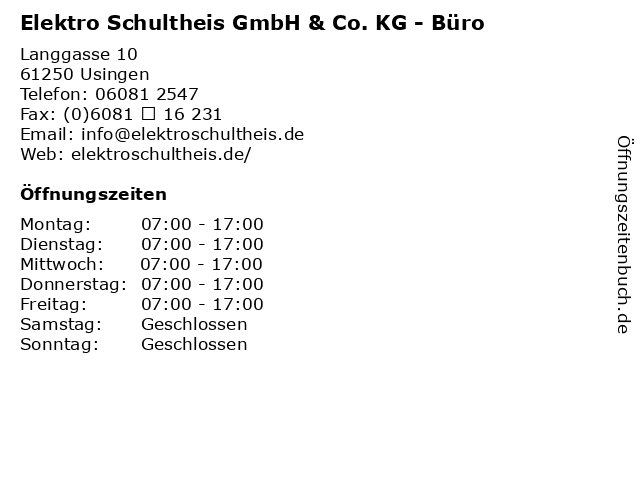 Elektro Schultheis GmbH & Co. KG - Büro in Usingen: Adresse und Öffnungszeiten