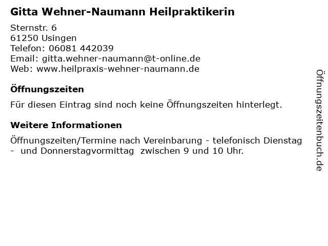 Gitta Wehner-Naumann Heilpraktikerin in Usingen: Adresse und Öffnungszeiten