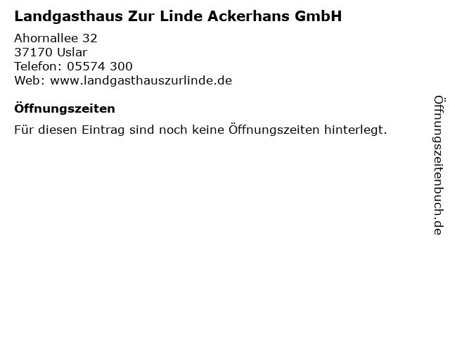 Landgasthaus Zur Linde Ackerhans GmbH in Uslar: Adresse und Öffnungszeiten