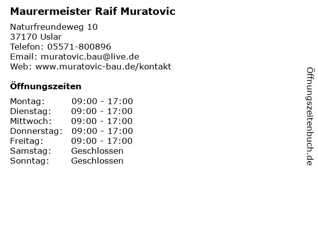 Maurermeister Raif Muratovic in Uslar: Adresse und Öffnungszeiten