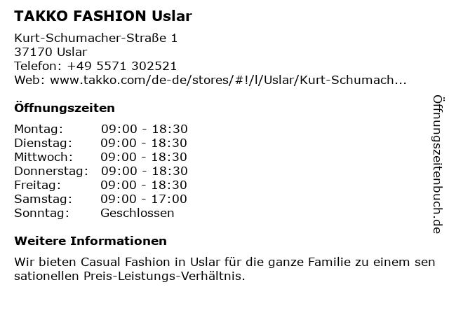 Takko Fashion in Uslar: Adresse und Öffnungszeiten