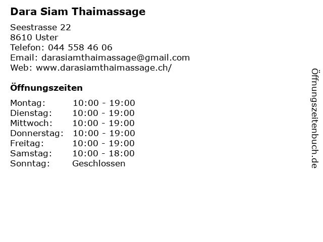 Dara Siam Thaimassage in Uster: Adresse und Öffnungszeiten