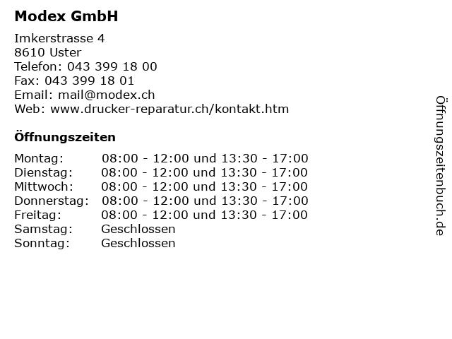 Modex GmbH in Uster: Adresse und Öffnungszeiten