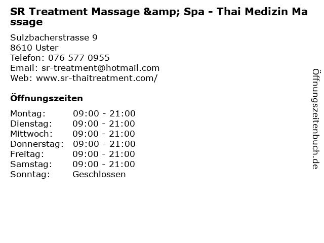 SR Treatment Massage & Spa - Thai Medizin Massage in Uster: Adresse und Öffnungszeiten