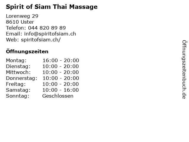 Spirit of Siam Thai Massage in Uster: Adresse und Öffnungszeiten