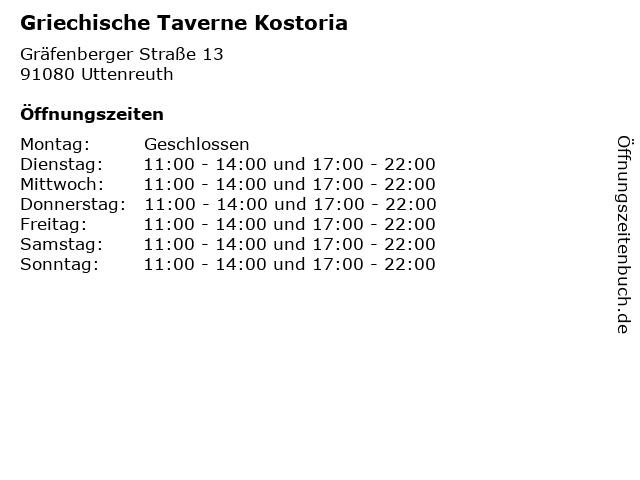 Griechische Taverne Kostoria in Uttenreuth: Adresse und Öffnungszeiten