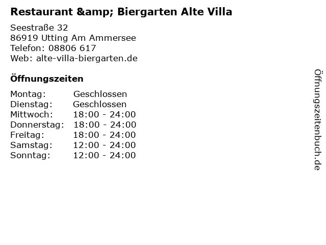 Á… Offnungszeiten Restaurant Biergarten Alte Villa Seestrasse 32 In Utting Am Ammersee