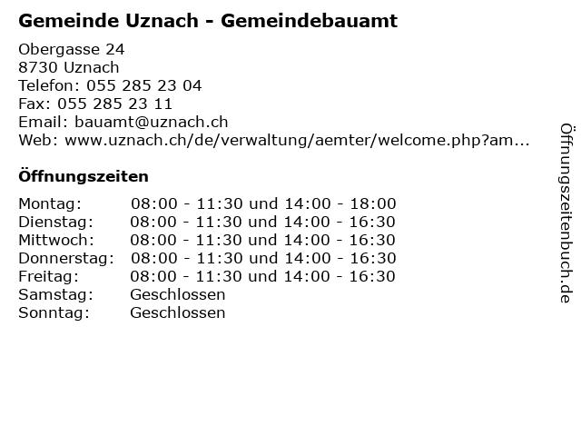 Gemeinde Uznach - Gemeindebauamt in Uznach: Adresse und Öffnungszeiten