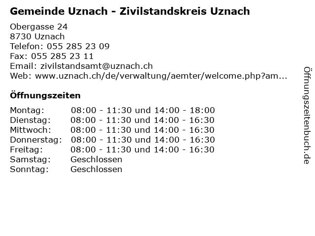 Gemeinde Uznach - Zivilstandskreis Uznach in Uznach: Adresse und Öffnungszeiten