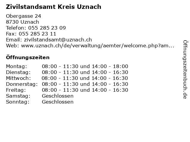 Zivilstandsamt Kreis Uznach in Uznach: Adresse und Öffnungszeiten