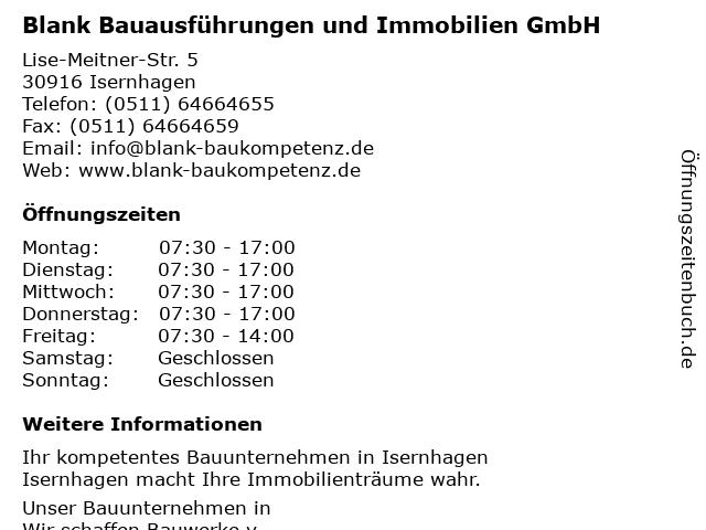 Blank Bauausführungen und Immobilien GmbH - Bürozeiten in V: Adresse und Öffnungszeiten