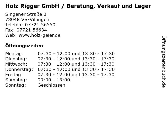 Holz Rigger GmbH / Beratung, Verkauf und Lager in VS-Villingen: Adresse und Öffnungszeiten