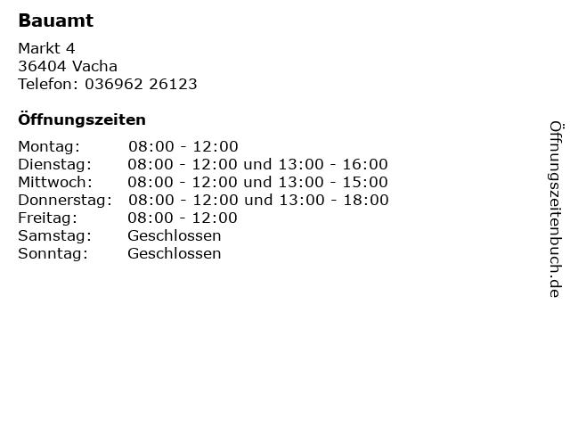 Bauamt in Vacha: Adresse und Öffnungszeiten
