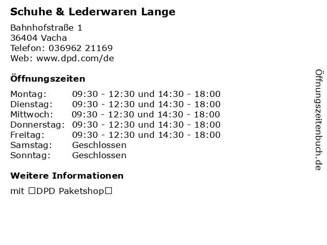 Schuhe & Lederwaren Lange in Vacha: Adresse und Öffnungszeiten