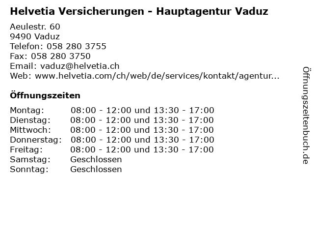 ᐅ Offnungszeiten Helvetia Versicherungen Hauptagentur Vaduz