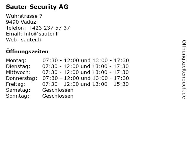Sauter Security AG in Vaduz: Adresse und Öffnungszeiten