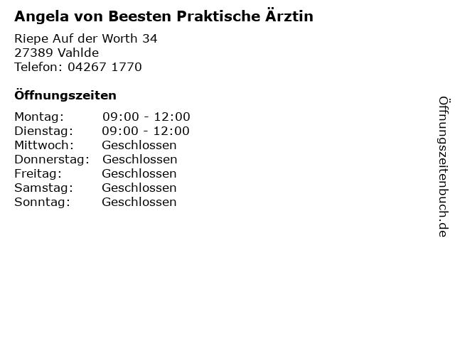 Angela von Beesten Praktische Ärztin in Vahlde: Adresse und Öffnungszeiten