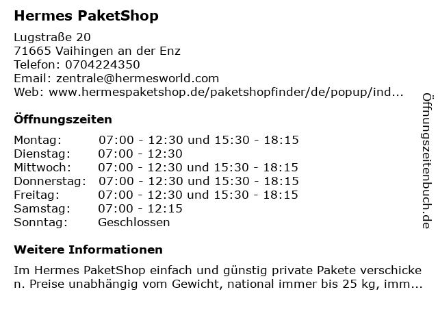 Hermes PaketShop in Vaihingen an der Enz: Adresse und Öffnungszeiten