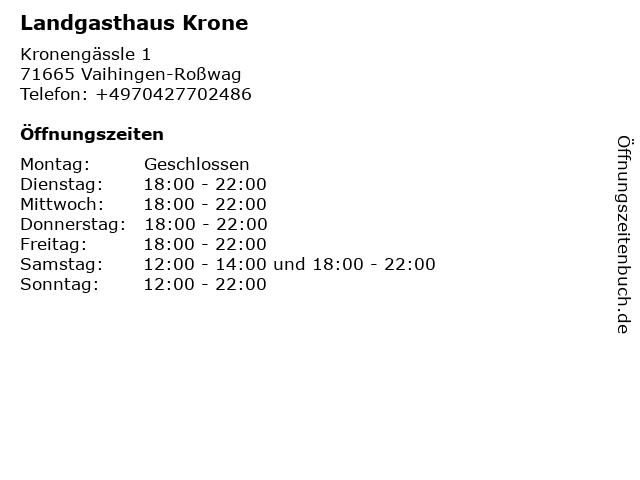 Landgasthaus Krone in Vaihingen-Roßwag: Adresse und Öffnungszeiten