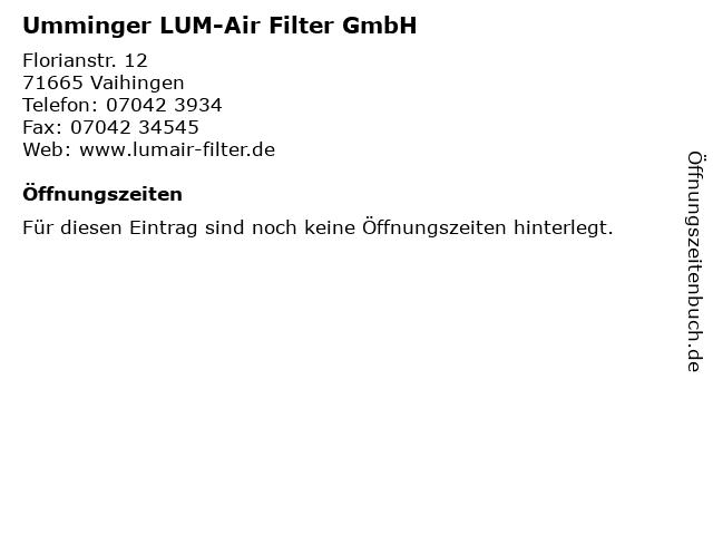 Umminger LUM-Air Filter GmbH in Vaihingen: Adresse und Öffnungszeiten