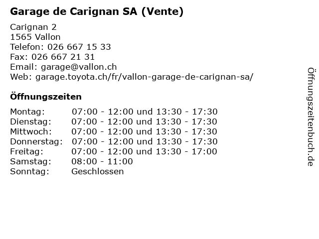 Garage de Carignan SA (Vente) in Vallon: Adresse und Öffnungszeiten