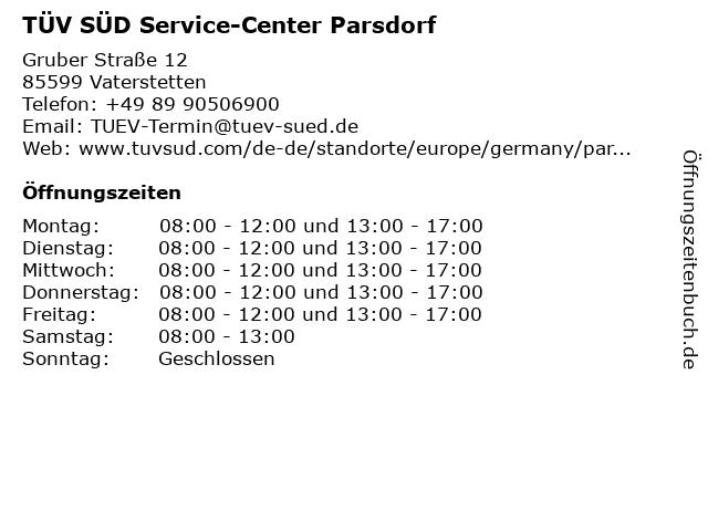 TÜV SÜD Service-Center Parsdorf in Vaterstetten: Adresse und Öffnungszeiten