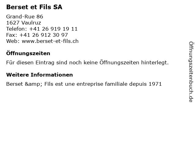 Berset et Fils SA in Vaulruz: Adresse und Öffnungszeiten