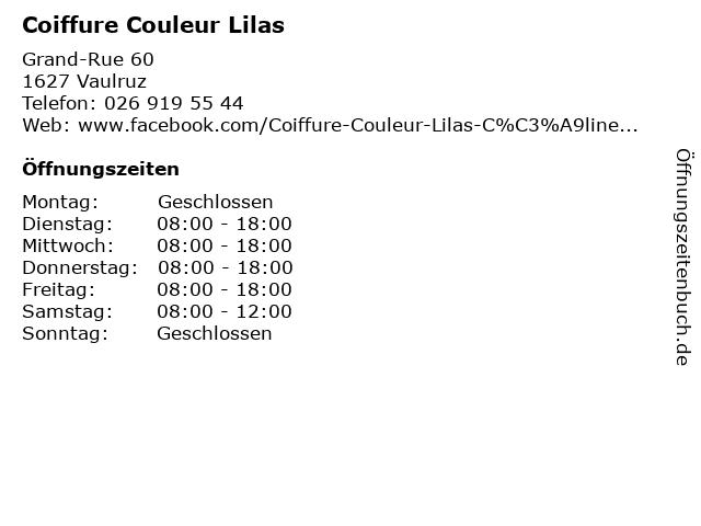 Coiffure Couleur Lilas in Vaulruz: Adresse und Öffnungszeiten
