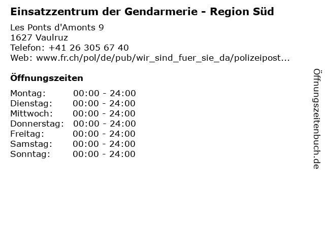 Einsatzzentrum der Gendarmerie - Region Süd in Vaulruz: Adresse und Öffnungszeiten