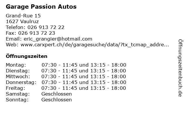 Garage Passion Autos in Vaulruz: Adresse und Öffnungszeiten