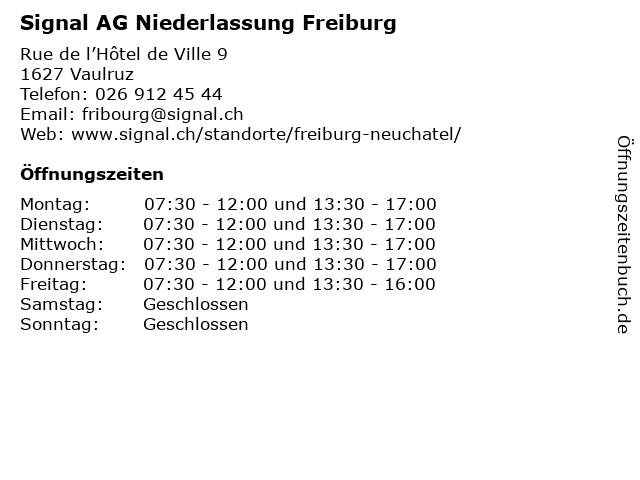 Signal AG Niederlassung Freiburg in Vaulruz: Adresse und Öffnungszeiten