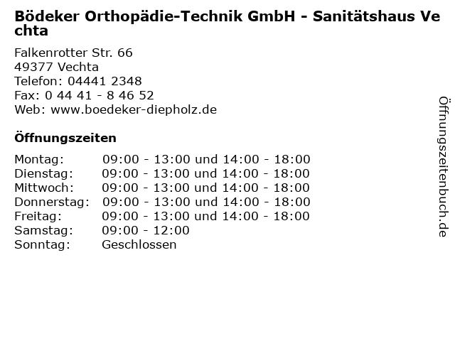 Bödeker Orthopädie-Technik GmbH - Sanitätshaus Vechta in Vechta: Adresse und Öffnungszeiten