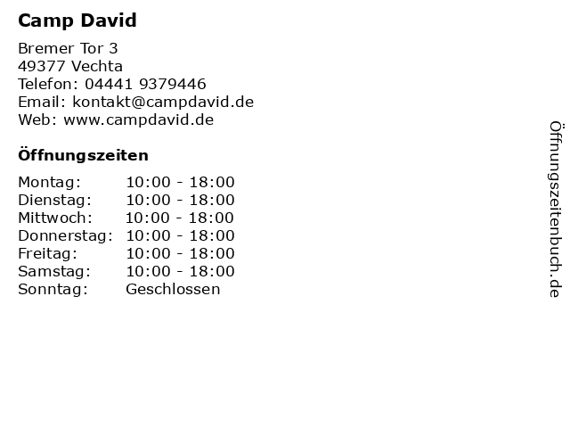 Camp David in Vechta: Adresse und Öffnungszeiten