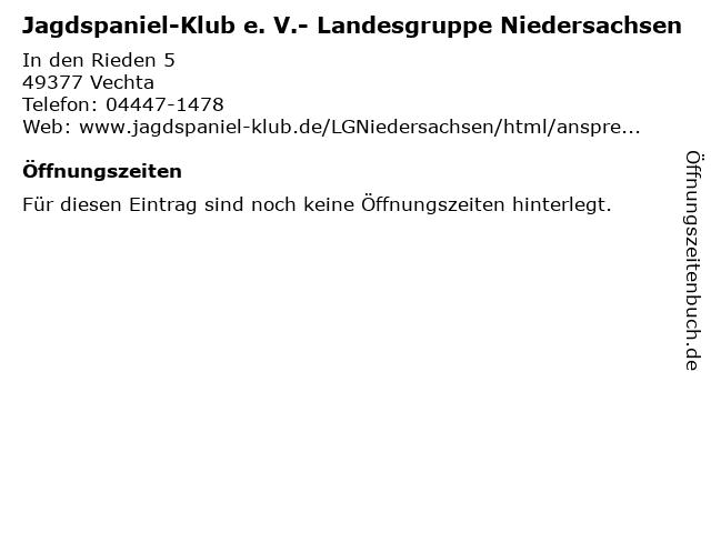 Jagdspaniel-Klub e. V.- Landesgruppe Niedersachsen in Vechta: Adresse und Öffnungszeiten