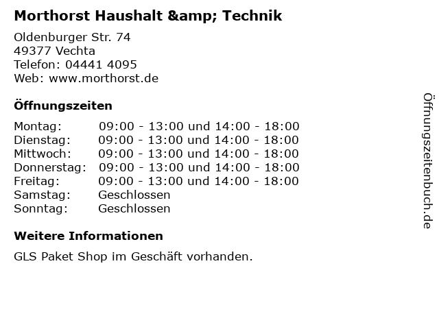Morthorst Haushalt & Technik in Vechta: Adresse und Öffnungszeiten