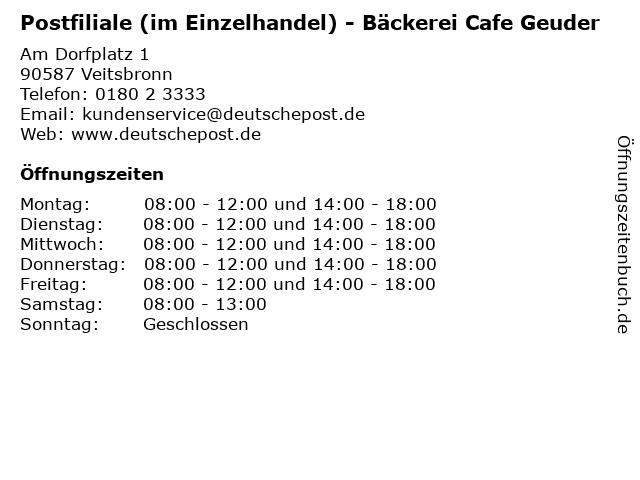 Postfiliale (im Einzelhandel) - Bäckerei Cafe Geuder in Veitsbronn: Adresse und Öffnungszeiten
