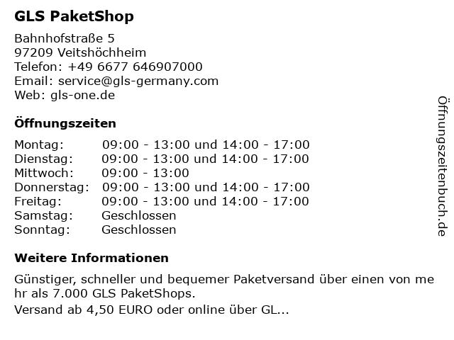 GLS PaketShop in Veitshöchheim: Adresse und Öffnungszeiten